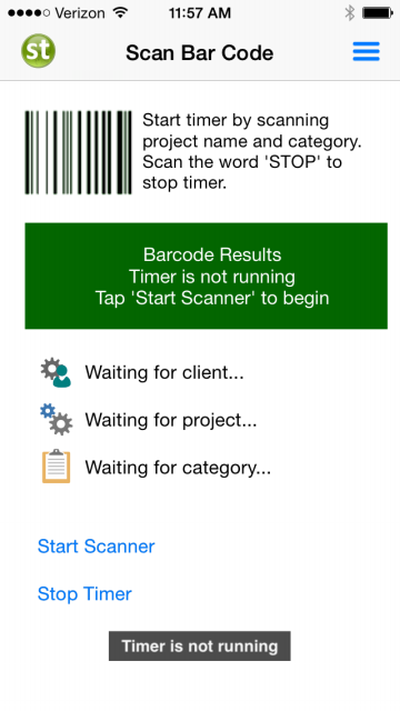 Start Timer With Barcode Scan