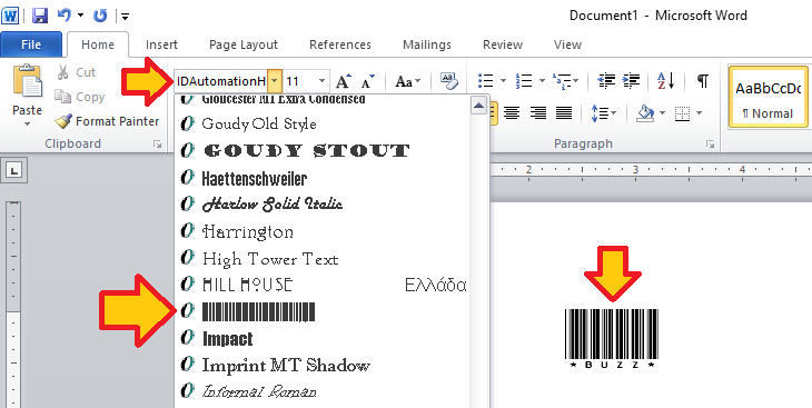 MS Word Barcode Font