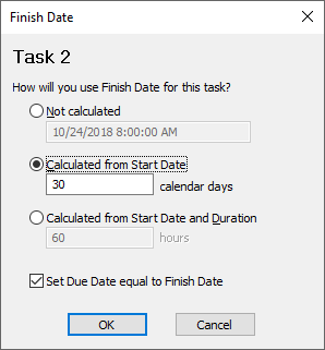 Calculate Task Finish Dates